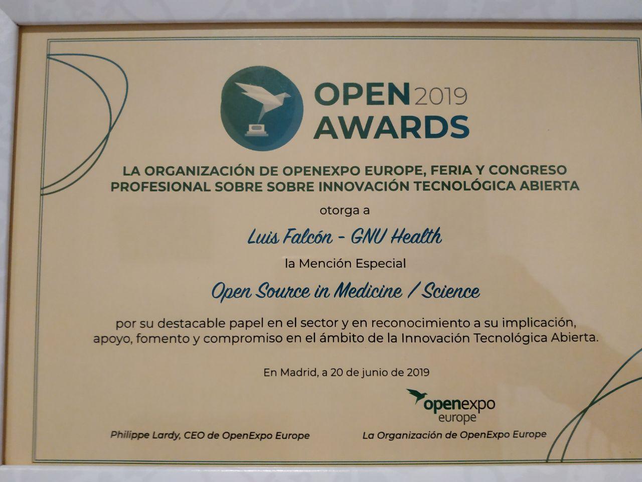 Openaward 2019a Luis Falcon en Medicina y Ciencia